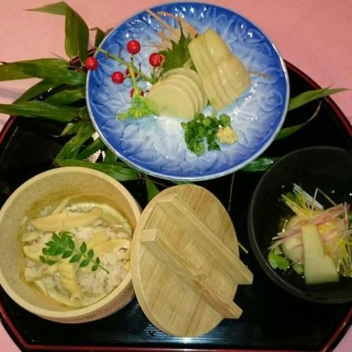 【春限定】筍のさしみ、筍の炊き込みご飯、特製たけのこ饅頭(イメージ)