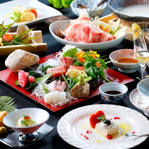 【ご夕食】地元の新鮮な食材をふんだんに使用た、黒毛和牛を主とした会席料理を提供いたします(一例)