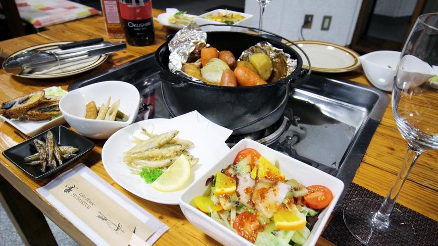 *【夕食全体例】すべて手作りにこだわった料理は、どれも絶品!出来立てをお召し上がり下さい。