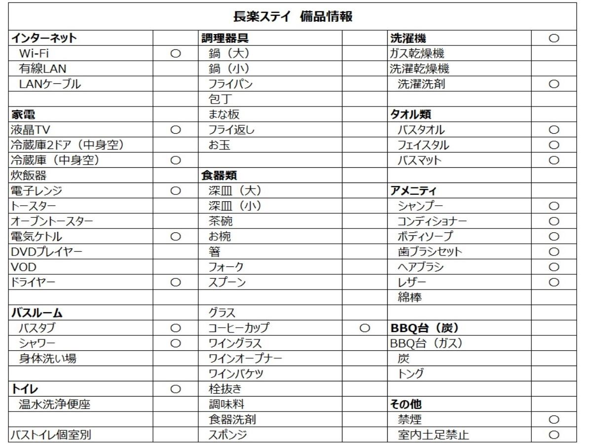 長楽ステイ 備品リスト
