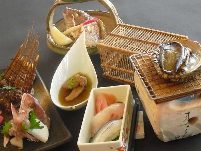 季節のお料理例~あわび踊り焼き~鮨