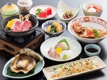 夏会席の例。海鮮食材は新鮮な食材を使用しますので日により魚種が異なることがございます。