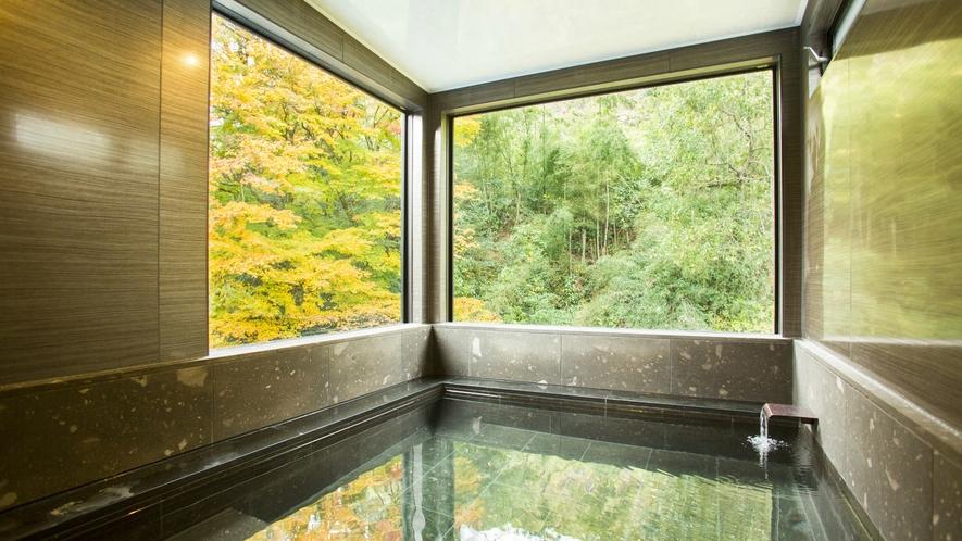 【関山 kanzan】 岩風呂内湯。宝泉寺温泉源泉かけ流し。ガラス張りの内湯でほっこり。