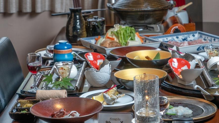 【Dinner一例】御夕食は洋食のコースから郷土懐石までお好みにあったお料理をご提供しています。