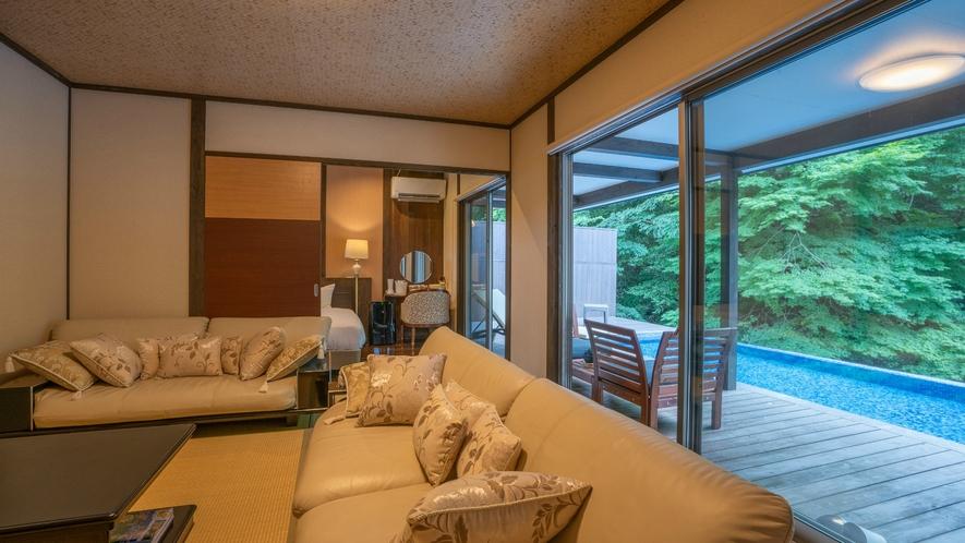 プライベート温泉プール付き川沿いヴィラ【関山 kanzan】でラグジュアリーなひとときを。
