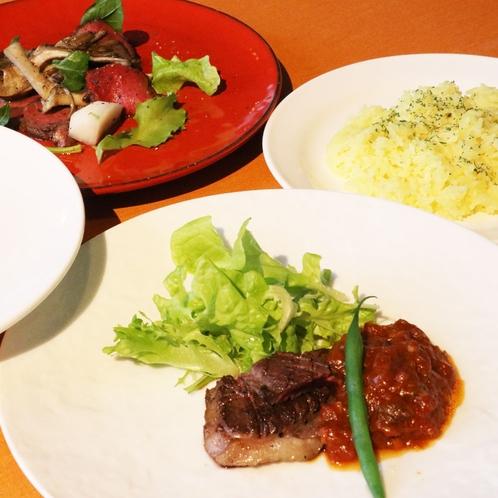 ジビエコースの鹿肉の料理