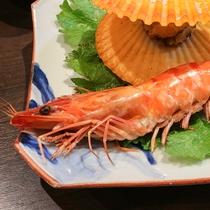 *【ご夕食一例】ひよき貝と車海老のボイル。素材の味がぎゅっと閉じ込められています。