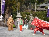 大江八幡宮の春祭り、400年以の歴史(2017年3月26日 平野屋旅館・食事処「辨」から10メート)