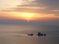 天草町大江 西海岸の夕陽(平野屋旅館・食事処「辨」から車7分の地点)2017年3月28日