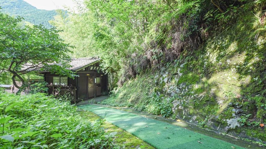 [混浴露天風呂・外観]本館を抜けるとたくさんの木々の中に露天風呂が佇みます。