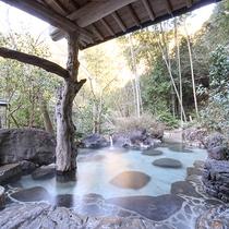 [庭園露天風呂]晴れた日には満点の星空の下、温泉をお楽しみいただけます。
