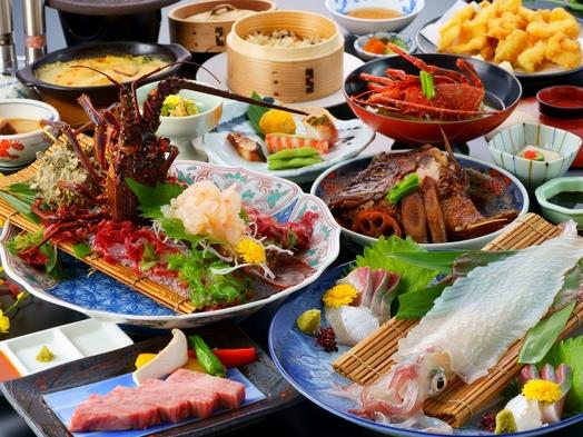 【海鮮とお肉】イカと伊勢エビ活造り & 霜降り佐賀牛 (夕食はお部屋)
