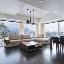 *2ベッドルームプレミアム室内一例/大きな窓からは羊蹄山側の景色が目の前に!