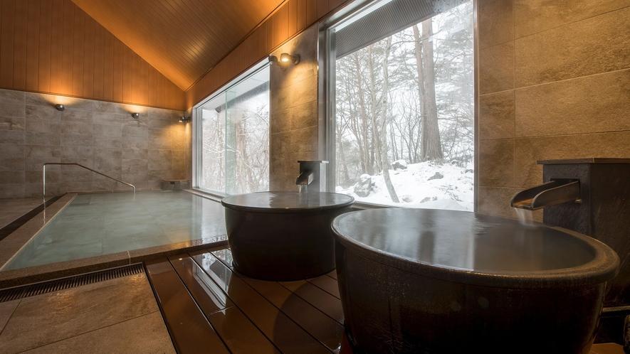 【虹の森温泉】男性浴場には壺湯もございます。