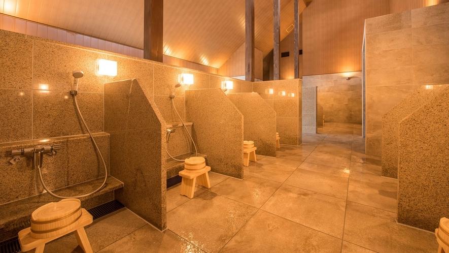 【虹の森温泉】大浴場は、モダンな雰囲気漂う、お洒落な空間となっています。