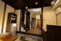 共有スペース設備 ゲスト用冷蔵庫、電子レンジ、オーブントースターと共有キッチンがあります。