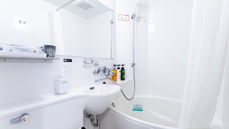 通常の浴槽より約20%の節水かつゆったり入浴できるアパホテルオリジナルユニットバス