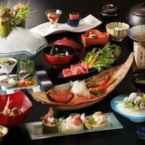 夏のご夕食一例。金目鯛の姿煮(2~3名で1匹ほか、旬の味をお楽しみ下さい