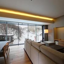 【3ベッドルーム リゾートビュー】冬はゲレンデを一望でき、リゾート気分を盛り上げてくれます。
