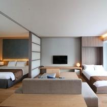 【1.5ベッドルーム】1つのベッドルームと収納式のセミダブルで最大3名様までご滞在頂けます。