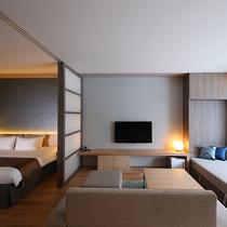 【1.5ベッドルーム】収納式ベッドはソファとしてもお使い頂けます。