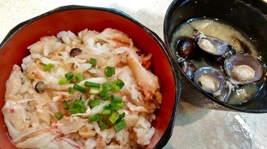 ◆ご当地逸品『カニ飯』&『網走湖産 しじみの味噌汁◆