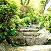 <玄関及び温泉への階段>