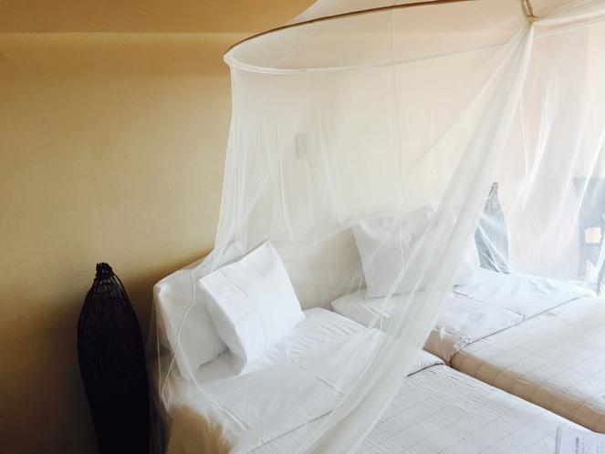 天蓋付きのベッドも