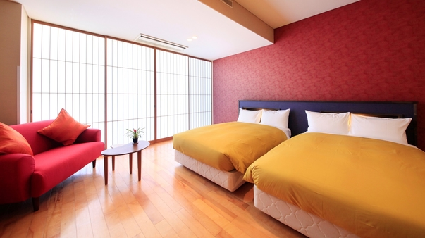 【洋室】ツインベッド(22平米・定員2名)