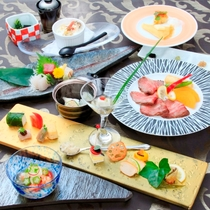 夏の旬の食材を取り入れた創作和食会席(一例)