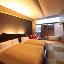 ~セミダブルベッド2台~最上階露天風呂付きツイン和室