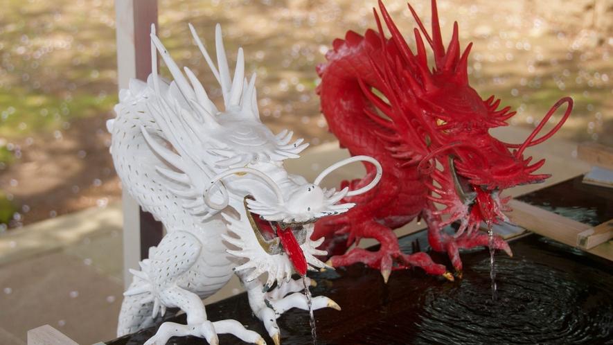 【伊豆山神社】紅白の龍の手水舎