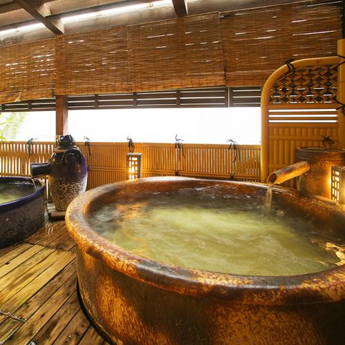 ●陶器風呂は陶器本来がもつ遠赤効果により身体を芯から温まります【露天風呂『月見の湯&夢見の湯』】