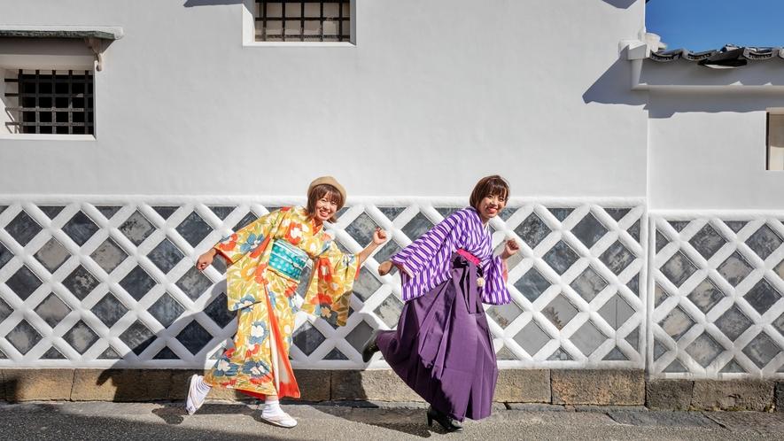 ●着物や袴を着ての城下町散策は女子トーク全開!