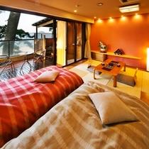●【最上階*露天風呂付客室〜さざんか〜】●日本海が一望♪