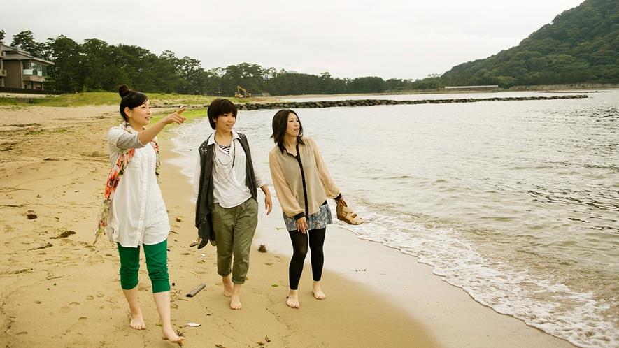 ● 潮風を感じながら、波の音を聴きながらオーシャンビーチ菊ヶ浜を散策