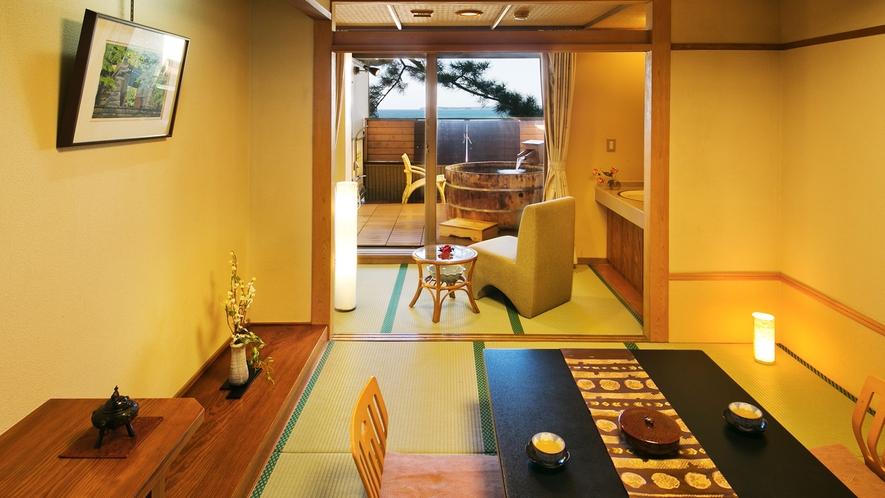 ●【露天風呂付客室・3階7.5帖(イメージ)】●菊ヶ浜の海景色を見渡して♪
