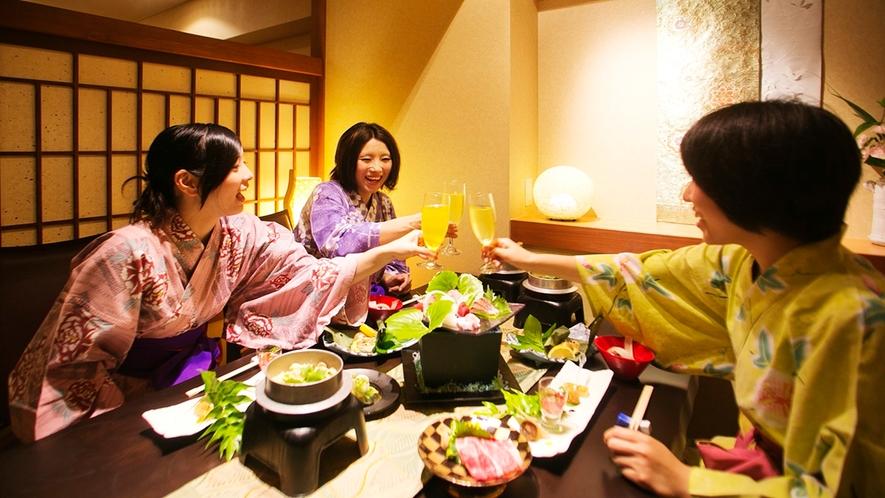 ●個室夕食(イメージ)大切な仲間と会話もはずむお食事