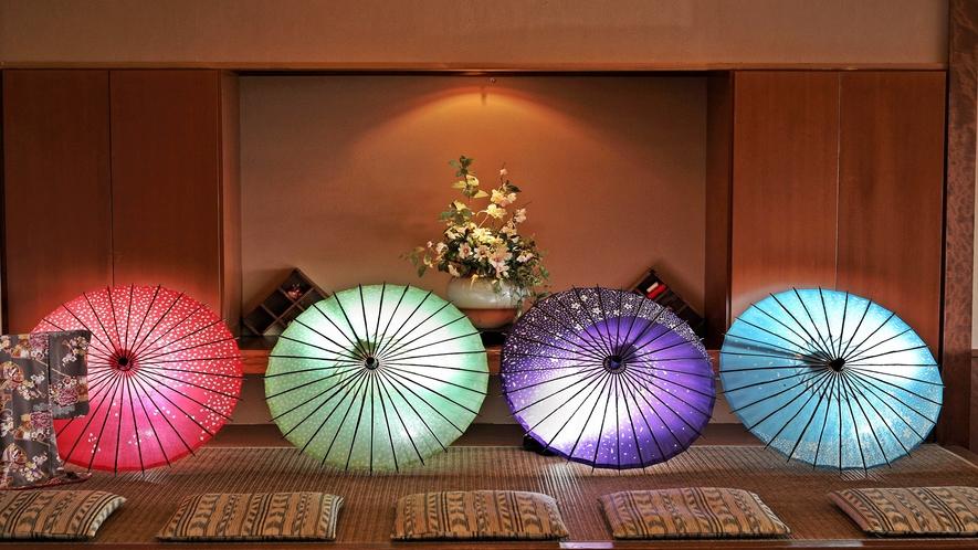 ■ティーラウンジ【宵待ち】インスタスポット・和傘のライトアップ(イメージ)