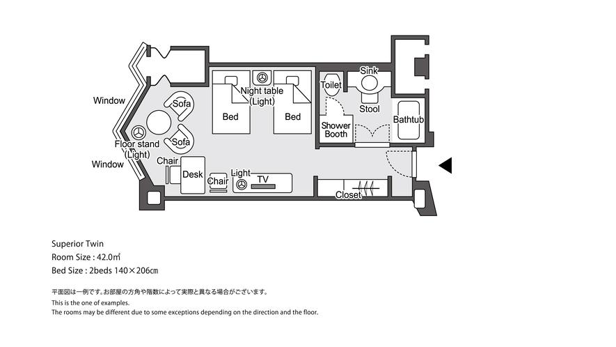 【ラグジュアリーフロア】ラグジュアリースーペリアツイン 平面図イメージ