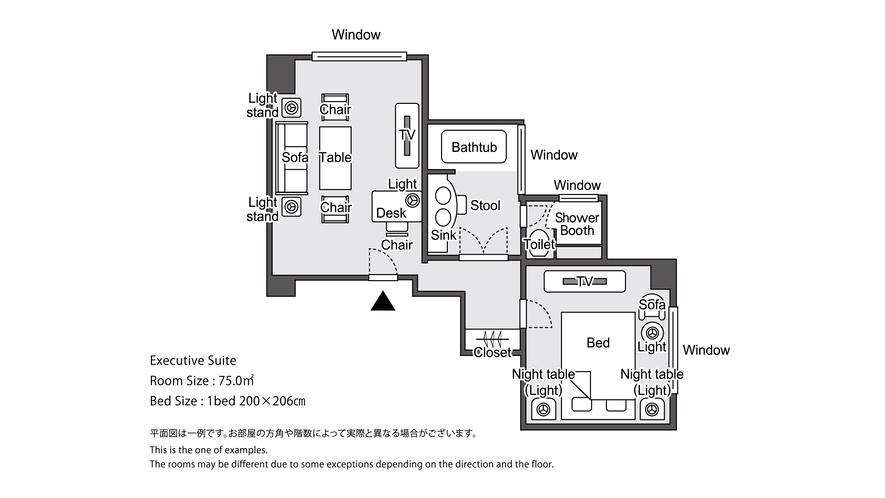 【ラグジュアリーフロア】最上階34階 エグゼクティブスイート 平面図イメージ