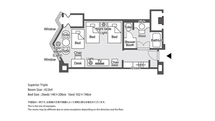【ラグジュアリーフロア】ラグジュアリースーペリアツイン3名様利用 平面図イメージ