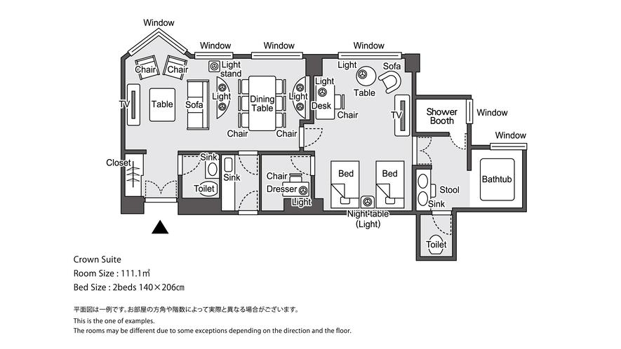 【ラグジュアリーフロア】最上階34階 クラウンスイート 平面図イメージ