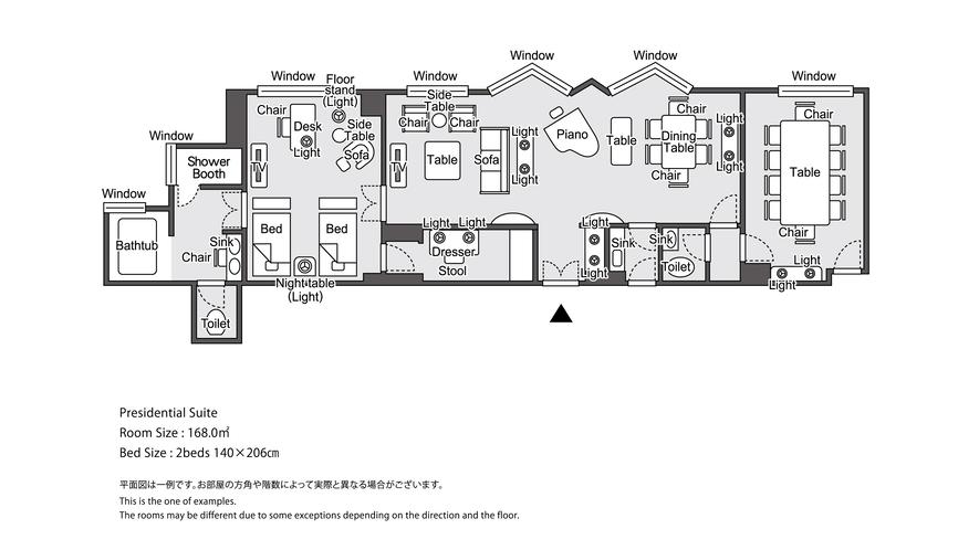【ラグジュアリーフロア】最上階34階 プレジデンシャルスイート 平面図イメージ