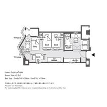 【ラグジュアリーフロア】ラグジュアリースーペリアツイン3名様利用 平面図
