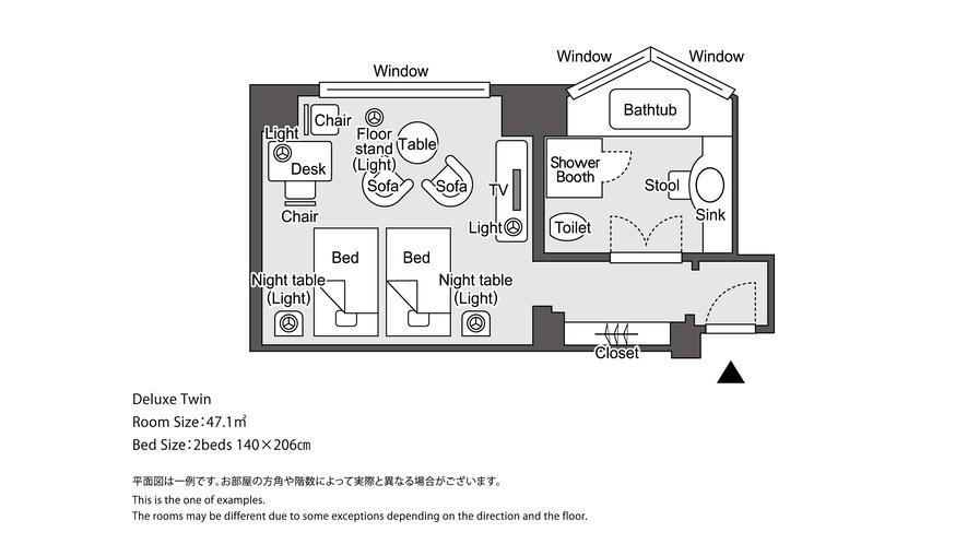 【レギュラーフロア】デラックスツイン 平面図イメージ