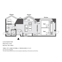 【ラグジュアリーフロア】ラグジュアリースーペリアスイート 平面図