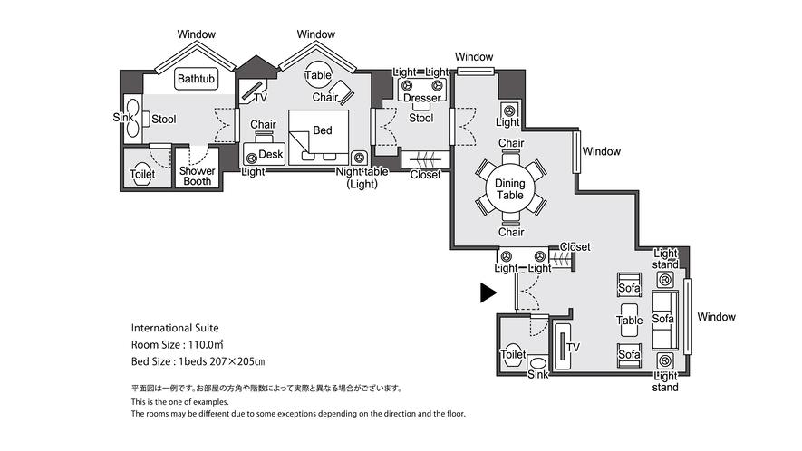 【ラグジュアリーフロア】最上階34階 インターナショナルスイート 平面図イメージ