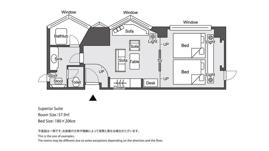 【ラグジュアリーフロア】ラグジュアリースーペリアスイート 平面図イメージ