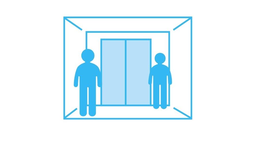 エレベーターでは間隔を空け、会話はお控えください。